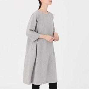 Muji 100% linen grey 3/4 sleeve dress